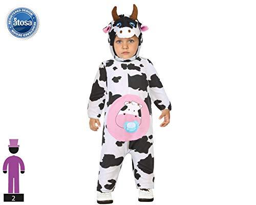 Atosa-55910 Atosa-55910-Disfraz Vaca-Bebé Niña, Color blanco, 12 a 24 Meses (55910