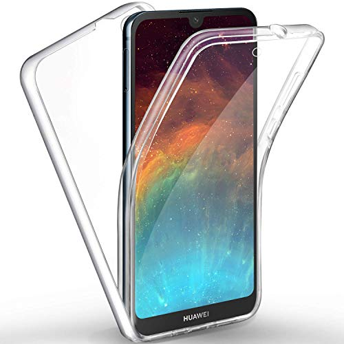 FroFine - Carcasa para Huawei Y5 (2019) (Silicona), Transparente 2 en 1, protección Integral de 360 Grados TPU Flexible Delantera y Trasera de PC rígido, Ultra Delgada, Full Body Cover