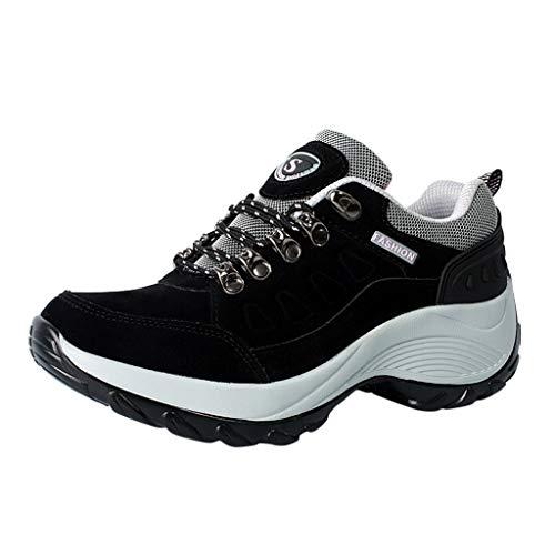HDUFGJ Damen Trekking-& Wanderschuhe Verschleißfest Outdoor-Schuhe Sneaker Leichtgewicht rutschfeste Laufschuhe Bequem Mode Freizeitschuhe Faule Schuhe Turnschuhe Fitnessschuhe 38(Schwarz)