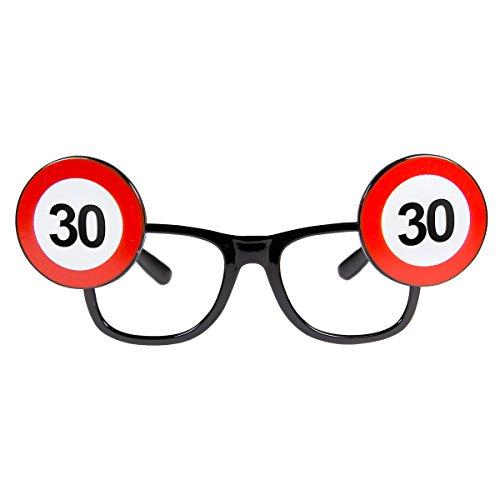 Folat 24930 Geburtstag Spaß-Brille Verkehrsschild, Zahl 30