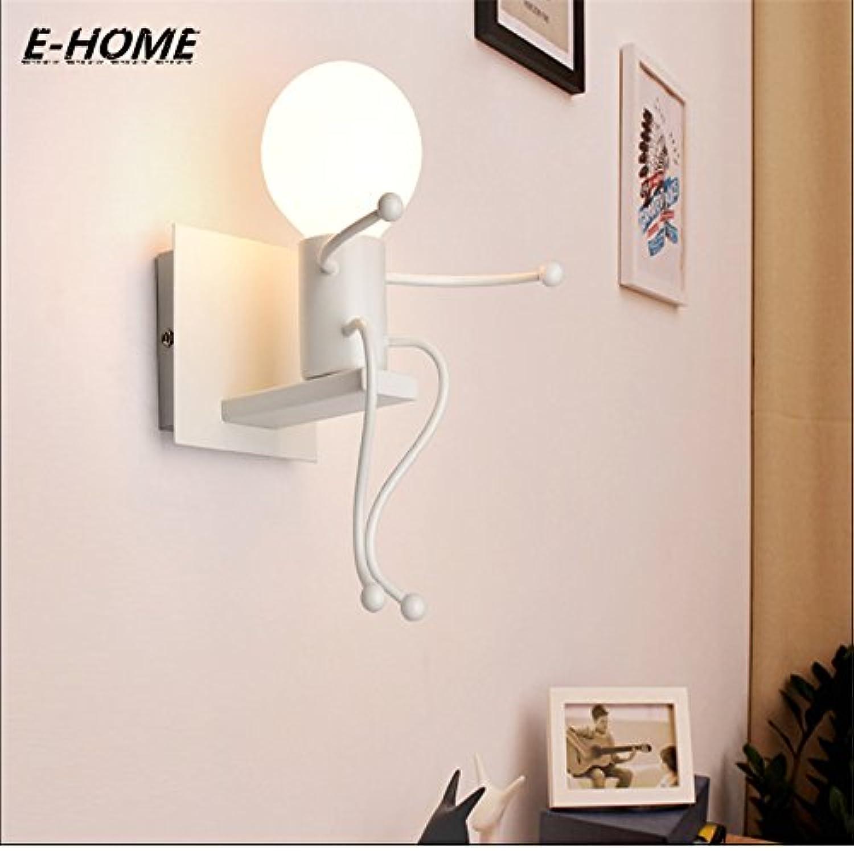 HNZZN Moderne einfache Schlafzimmergang-Treppenkorridor-Kindereisenwandlampe der kreativen Persnlichkeit LED der europischen Art der Nachttischlampe, wei