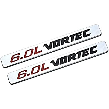 Red Black Three Pcs 6.0L Vortec Adhesive Emblem Badge Compatible with Chevrolet GMC Silverado Z71