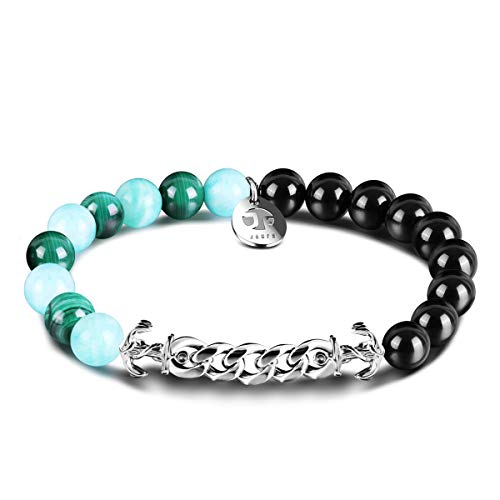 JOXFA Beaded Anchor Bracelet for Mens Women, 8MM Natural Stone Agate Beads with Stainless Steel Anchor Chain Bracelets Charm Crystal Healing Friendship Anxiety Elastic Rope Bracelet (Malachite)