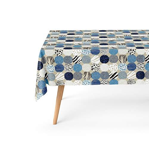 Basic Home Mantel Antimanchas Círculos Azules 140x200 cm