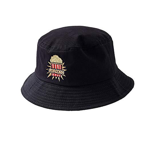 Dthlay Hüte Popcorn Stickerei Eimer Hut für Männer Frauen Hip Hop Fischer Hut Erwachsener Hut Sommerliebhaber Flacher Hut-schwarz_56-58cm