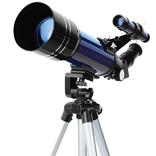 ESSLNB Telescopio 70mm Telescopio Astronomico con Ajustable Trípode Adaptador de Teléfono 3X Barlow Lente y Filtro de Luna
