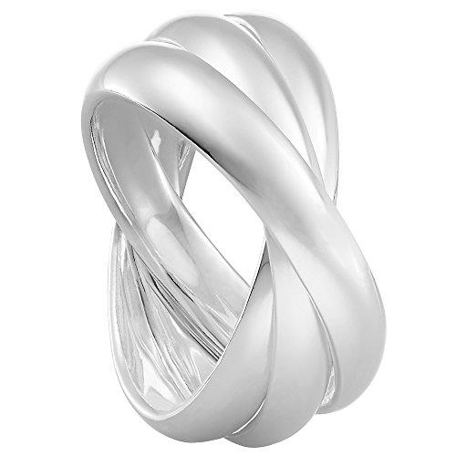 Vinani 3er Ring Wickelring massiv glänzend 3 Ringe beweglich Sterling Silber 925 Dreierring Größe 60 (19.1) 2R3A-60