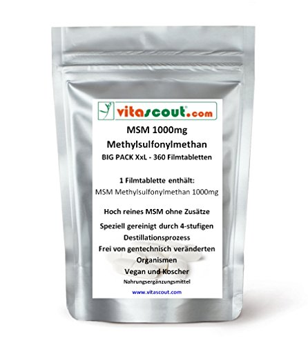 MSM - 1000mg - 360 Tabletten - MSM in besonders reiner Form - PN: 0010352