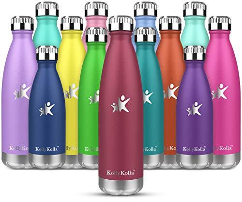 KollyKolla Vakuum Isolierte Edelstahl Trinkflasche, 650ml BPA Frei Wasserflasche Auslaufsicher, Thermosflasche für Sport, Outdoor, Fitness, Kinder, Schule, Kleinkinder, Kindergarten (Weinrot)
