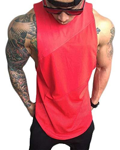 ATTAOL Herren Bodybuilding Ärmelloses Oberteil Schweiß Elastizität Atmungsaktiv Fitness Weste Tank Top Rot M