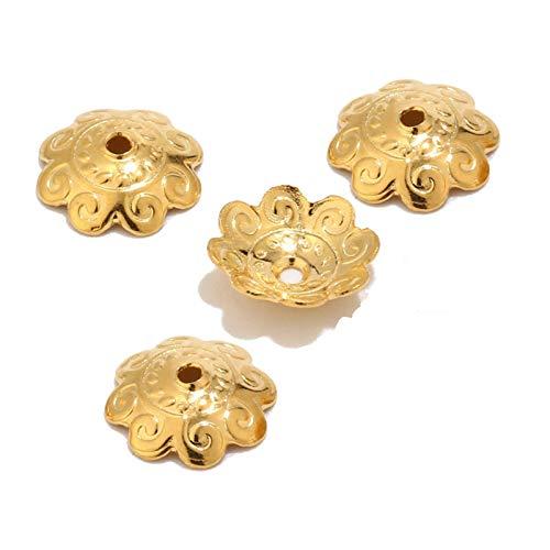 PJ1 100 unids color dorado filigrana flor tapa tapa conjuntos de conjuntos de clavos metal acero inoxidable extremo perlas tapa para la joyería de bricolaje haciendo hallazgos Tl0613 ( Color : 11mm )