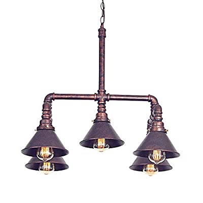 BSTOOL Antique Industrial Steampunk Water Pipe Ceiling Light Copper Chandelier Hanging Drop Pendant Lamp 5 Lights Room Bar Decoration