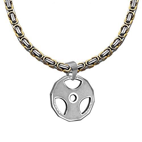 tumundo® 1 Königskette + 1 Kettenanhänger Hantelscheibe Sport Gewicht Anhänger Edelstahl Kette Halskette, Farbe:Modell 8-55cm