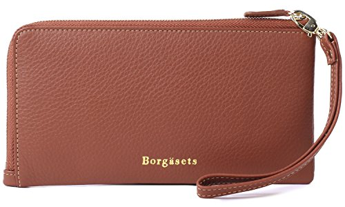 Borgasets RFID Protection Genuine Leather Wallet with Removable Strap Wristlet Zip Clutch Passport Holder