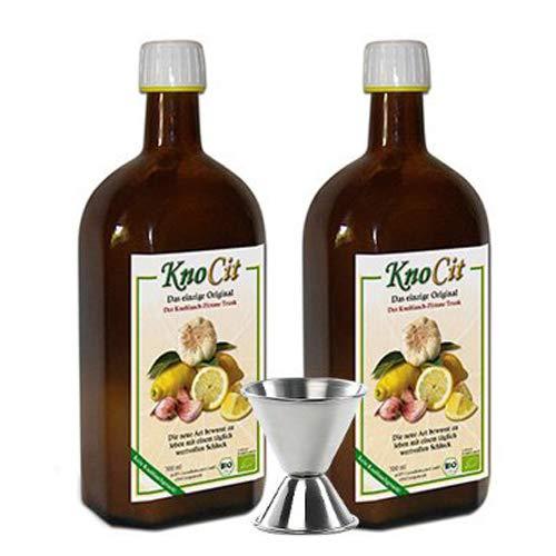 2x Knocit - Bio Knoblauchkur - Naturprodukt aus frischem Knoblauch und Zitrone inkl. passendem Barmaß
