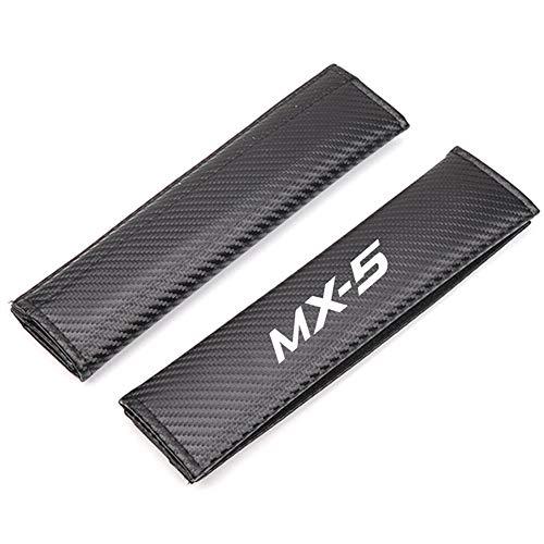 interslife 2pcs For MAZDA MX5 Car Seat Belt Cover Shoulder Pads, Carbon Fibre Safety Shoulder Seatbelts Protection Case, Auto Logo Styling Accessories