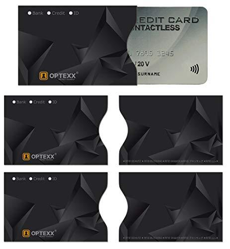 OPTEXX - 5 Fundas RFID para Tarjetas de crédito, Tarjetas de Identidad, Bloqueo Seguro de Chips por Radio