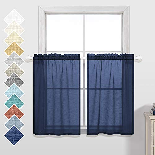 Navy Blue Short Curtains 36 Inch Length for Kitchen Rod Pocket Semi Sheer Cafe Tier Small Short Curtains for Bedroom Bathroom Window