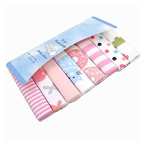 AdorabFruit 8pcs / Pack 100% algodón bebé recién Nacido Toallas de baño de Saliva Toalla Toalla de enfermería bebés niñas niñas pañuelo pañuelo (Color : Pink B for Girl)