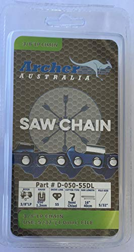 """Archer 16"""" Chainsaw Saw Chain Blade Poulan PLN3516F 3/8"""" LP .050 Gauge 55DL Compatible with STIHL 63PMC3 55 and Oregon 91PX055G S55"""