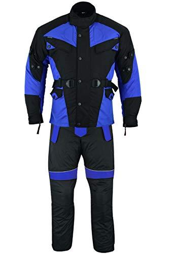 German Wear 2-teiler Motorradkombi Cordura Textilien Motorradjacke + Motorradhose, 48/S, Blau