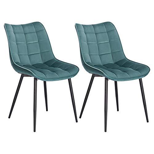 WOLTU® Esszimmerstühle BH142ts-2 2er Set Küchenstuhl Polsterstuhl Wohnzimmerstuhl Sessel mit Rückenlehne, Sitzfläche aus Samt, Metallbeine, Türkis