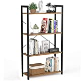 Besiture 4 Tier Bookshelf Bookcase, Industrial Living Room Standing Unit Shelf, Metal Wood Accent Modern Display Shelf Display Rack Storage for Books, Potted Plant, Rustic Brown