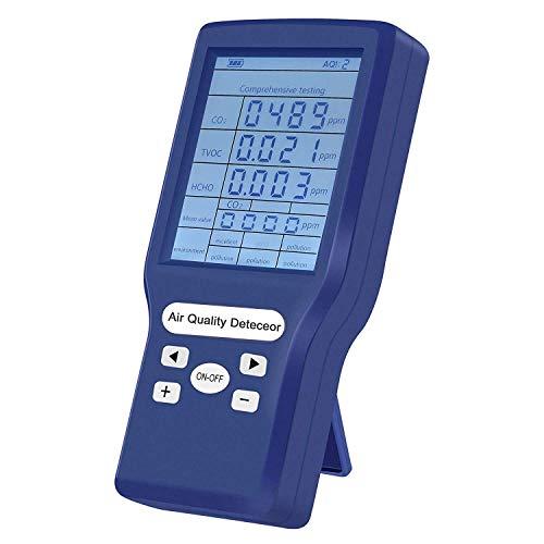 Elikliv Detector de Calidad del Aire, Medidor de CO2 para Interior con Pantalla LCD Monitoreo en Tiempo Real para HCHO TVOC para Hogar y Oficina