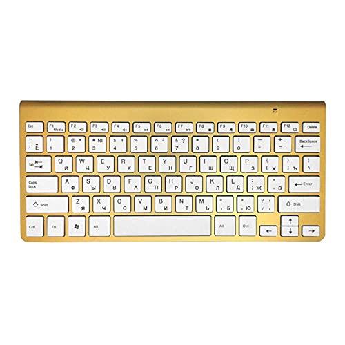 YNLRY Tijeras de teclado inalámbrico ultra delgadas 2.4G teclado para Mac Windows XP 8 7 10 Vista Android TV Box (color: dorado)
