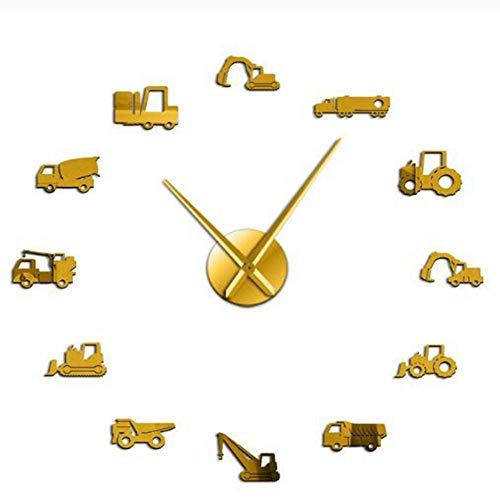 Gbrand Excavadora Moderno DIY DIY Reloj de Pared Equipo Pesado Arquitectura Operador Máquina Oficina Oficina Oficina Oficina Trabajo Vehicles Watch-Oro_47 Pulgadas