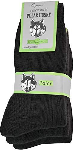 Polar Husky® 3 Paar Sehr warme Socken mit Vollplüsch und Schafwolle/Nie wieder kalte Füße! Farbe Vollfrottee/Schwarz Größe 39-42