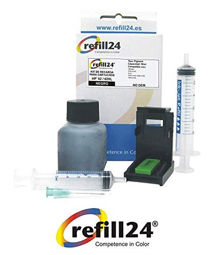 Navulset voor inktcartridges HP 62, 62 XL, zwart, incl. clip en accessoires + 50 ml inkt