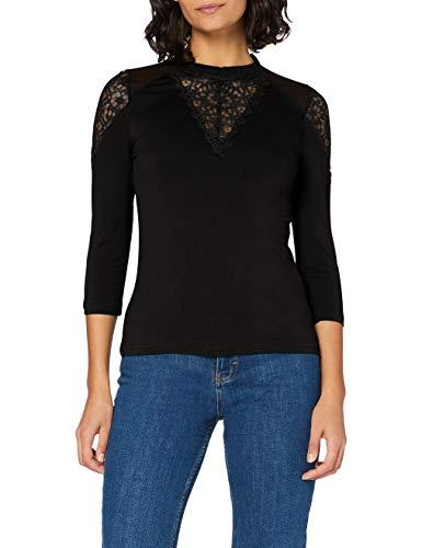 Morgan Femme T-shirt T Shirt Manches Longues Dentelle Tishir Noir TM, Noir, M EU