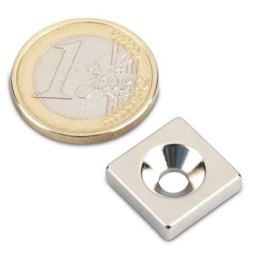 Starker Neodym Quadermagnet 15 x 15 x 4 mm N35 Nickel mit Senkloch Senkbohrung zum anschrauben schraubbar Haltemagnet Powermagnet Magnet Quader