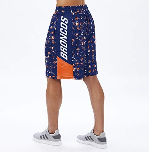 Zubaz Herren Shorts NFL Offizielles Lizenzprodukt, Herren, NFL Denver Broncos Team Color Grid Shorts, Sm, Marineblau/orange, Small