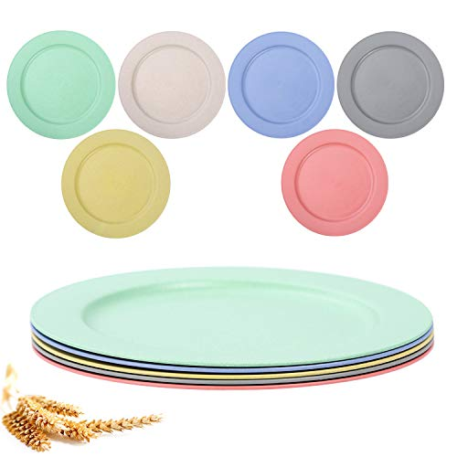 6PCSUnbreakable LightweightWheat Straw Plates, 10 inch Dinner Plates, Dishwasher & Microwave Safe Eco-FriendlyReusableBPA freefor Kids Children Toddler & Adult