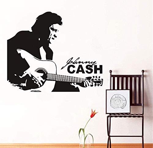 Wandaufkleber Aufkleber Berühmte Country-Musik Sänger Vinyl Aufkleber Home Kinder Jungen Zimmer Interieur Retro Art Schwarz Wandbild 56X43 cm