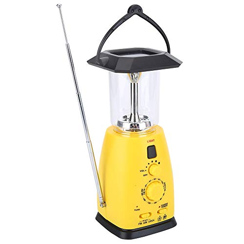Camping Lantern 4 In 1 Solar USB Rechargeable LED Outdoor Light Hand Crank Flashlight Tent Torch Lamp with AMFM Radio Emergency Phone Charger Camping Lamp for Hiking Fishing Power Cuts