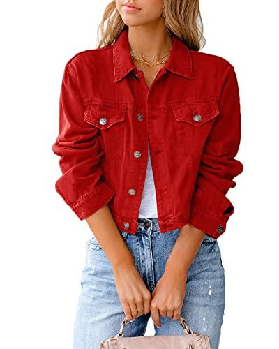 Eghunooye Damen Jeansjacke Reverskragen Kurz Lässig Denim Jacket mit Knöpfen Stretch Jacke Sommer Frühling Mantel Coat Outwear S M L XL XXL (Rot, Medium)