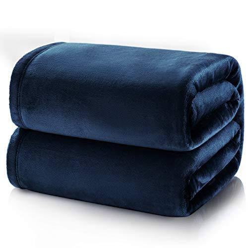 Bedsure fleece deken voor bed en bank donkerblauw 240x220cm, deken voor 2 persoons super zachte donzige deken voor woonkamer en slaapkamer