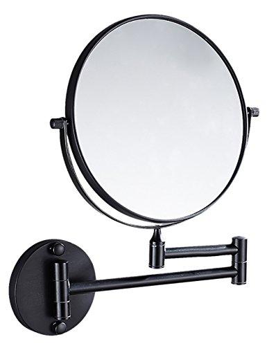 THEE Kosmetikspiegel Schminkspiegel zweiseitig Wandspiegel, Befestigen ohne bohren, verstellbar, 300% Vergrößerung, Chrom