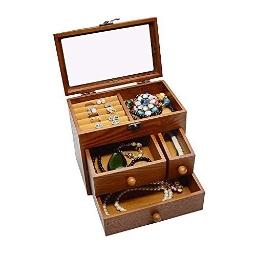 JIANGCJ Bonita caja de joyería para joyería femenina, organizador para con 3 cajones, collar, pendientes, anillos, caja de joyería brillante