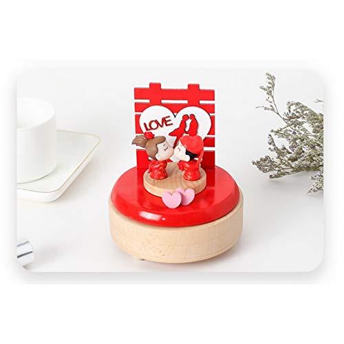 Caja de música Caja Musical con manivela,para niños Accionado por un Reloj de Madera Joyero Musical Joyero para niñas Mamá a Hija Amigos Caja de Regalo Caja de Recuerdos para niñas Juguetes