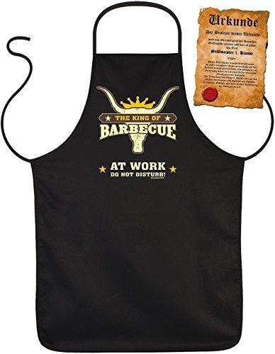 Grill-Schürze The King of Barbecue at Work - Do not Disturb BBQ Fun Koch-Schürze geil Bedruckt Geschenk-Set mit Grillmeister-Urkunde
