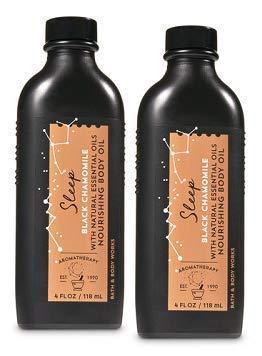Bath an Body Works 2 Pack Aromatherapy Sleep Black Chamomile Nourishing Body Oil 4 Oz.