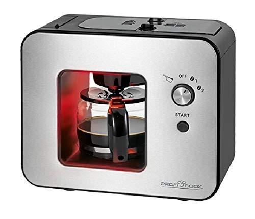 Kaffeemaschine mit Mahlwerk Glaskanne 0,5 Liter Edelstahl (900 Watt, Kaffeeautomat 5 Tassen, Warmhalteplatte, Schwarz)