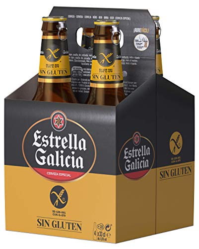 Estrella Galicia Cerveza Sin Gluten - Pack de 4 botellas x 33 cl