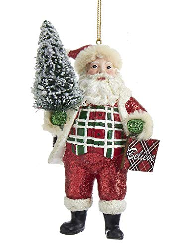 Kurt Adler Classic Plaid Santa Ornament Holding Christmas Tree and Believe Sign, 5 Inch