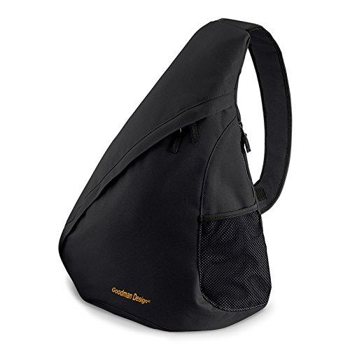 Moderner Messenger Dreieck-Rucksack, Umhängetasche, Body Bag, Crossover Sling Bag Farbe: Schwarz - Goodman Design ®