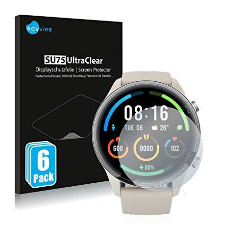 savvies Protector Pantalla Compatible con Xiaomi Mi Watch Color Sports (6 Unidades) Película Ultra Transparente